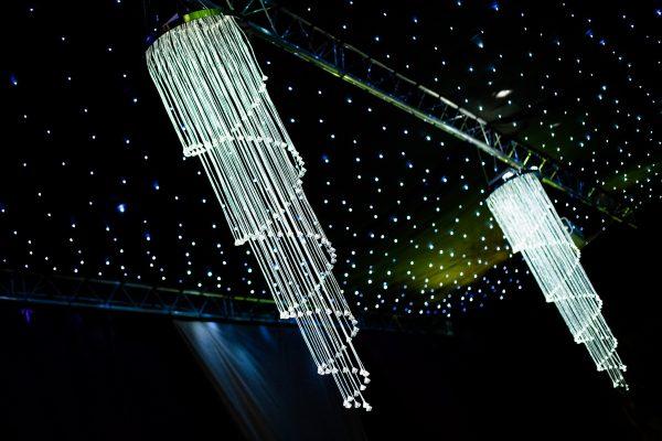 Lustre et rideau LED